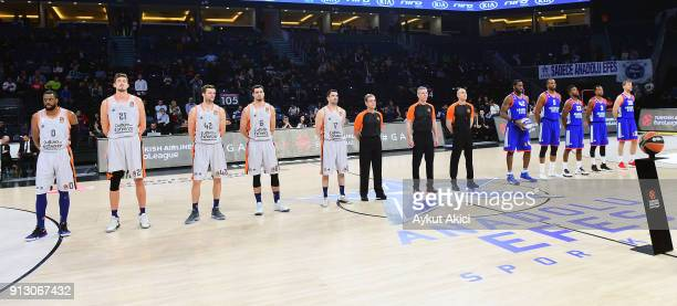 Tip off ceremony during the 2017/2018 Turkish Airlines EuroLeague Regular Season Round 21 game between Anadolu Efes istanbul and Valencia Basket at...