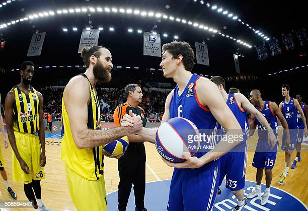 Tip off ceremony during the Turkish Airlines Euroleague Basketball Top 16 Round 6 game between Anadolu Efes Istanbul v Fenerbahce Istanbul at Abdi...
