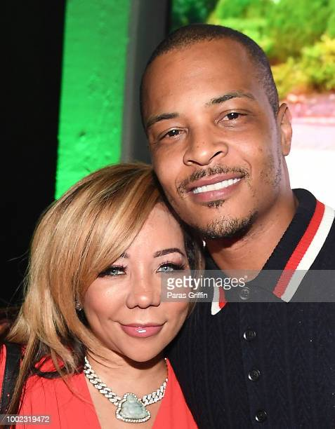 Rapper Tip 'TI' Harris Tiny Harris and Heiress Diana Harris attend 'The Grand Hustle' Exclusive Viewing Party at The Gathering Spot on July 19 2018...