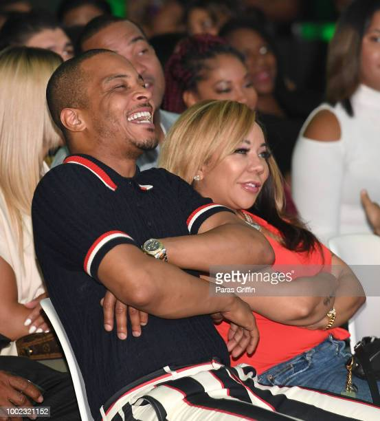 Tip 'TI' Harris and Tameka 'Tiny' Harris attend 'The Grand Hustle' Exclusive Viewing Party at The Gathering Spot on July 19 2018 in Atlanta Georgia