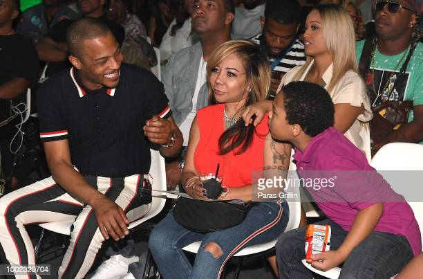 Tip 'TI' Harris Tameka 'Tiny' Harris and Major Harris attend 'The Grand Hustle' Exclusive Viewing Party at The Gathering Spot on July 19 2018 in...