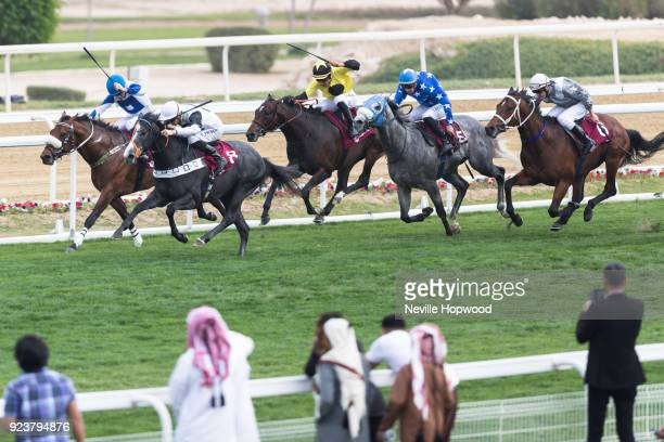 Tip Two Win under David Probert wins the 1600m Gruop 2 Al Biddah Mile race at Al Rayyan Racecourse on February 24 2018 in Doha Qatar