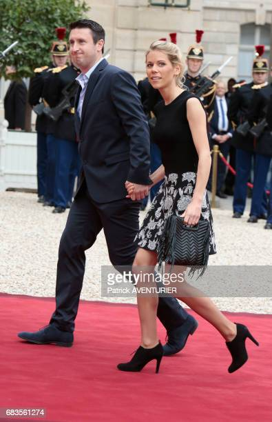 Tiphaine Auzière daughter of Brigitte Macron and husband during the handover ceremony at the Elysée Palace on May 14 2017 in Paris France