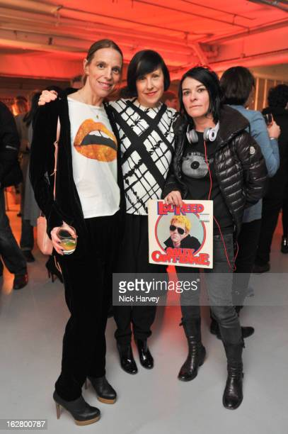 Tiphaine Chapman, Alice Rawsthorn and Sue Webster attend the launch of Dinos Chapman's album 'Luftbobler' at The Vinyl Factory Gallery on February...