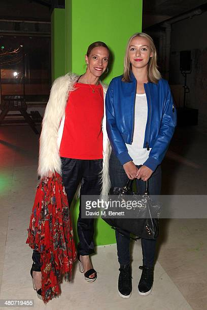 Tiphaine Chapman and Agathe Chapman at Selfridges for the opening of the UK's largest free undercover skatepark on March 26 2014 in London England