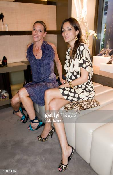 Tiphaine Chapman and Astrid Munoz attend the Giuseppe Zanotti Design Boutiques launch party at Giuseppe Zanotti Design Boutiques on July 10, 2008 in...
