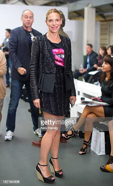 Tiphaine Chapman attends the front row for the Antonio Berardi show on day 4 of London Fashion Week Spring/Summer 2013, at Brewer Street Car Park on...