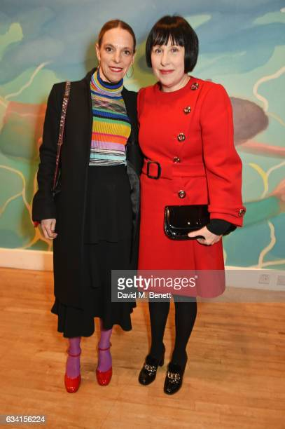 Tiphaine de Lussy and Alice Rawsthorn attend a private view of the David Hockney retrospective at the Tate Britain on February 7, 2017 in London,...
