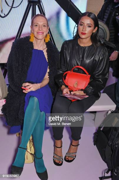Tiphaine de Lussy and Cora Corre attend the Mulberry 'Beyond Heritage' SS18 Presentation during London Fashion Week February 2018 at Spencer House on...