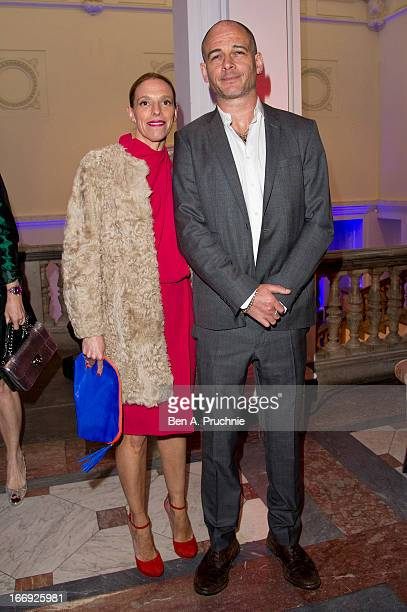 Tiphaine De Lussy and Dinos Chapman attend the private View and VEDay Party For Calder After The War at Pace London Gallery on April 18 2013 in...