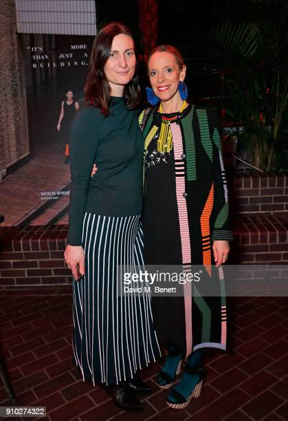 Tiphaine De Lussy and Karen Peacock attend the Warehouse Barbican InsideOut Launch Event at The Conservatory Barbican Centre on January 25 2018 in...