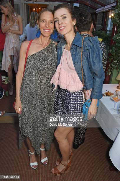 Tiphaine de Lussy and Lara Bohinc attend a cocktail evening to celebrate the Edie Parker Resort 2018 collection at Mark's Club on June 20, 2017 in...