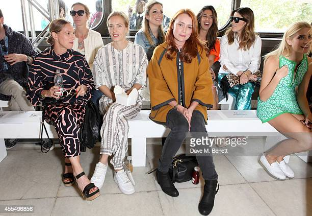 Tiphaine de Lussy, Keeley Hawes and Polly Morgan attend the ISSA Spring/Summer 2015 Show during London Fashion Week at the Queen Elizabeth Hall on...