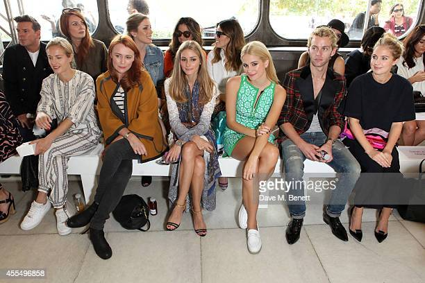 Tiphaine de Lussy, Keeley Hawes, Olivia Palermo, Pixie Lott, Trent Whiddon and Marissa Montgomery attend the ISSA Spring/Summer 2015 Show during...