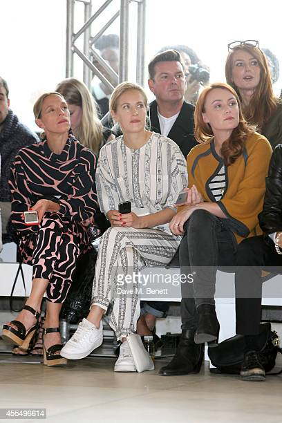 Tiphaine de Lussy, Polly Morgan and Keeley Hawes attend the ISSA Spring/Summer 2015 Show during London Fashion Week at the Queen Elizabeth Hall on...