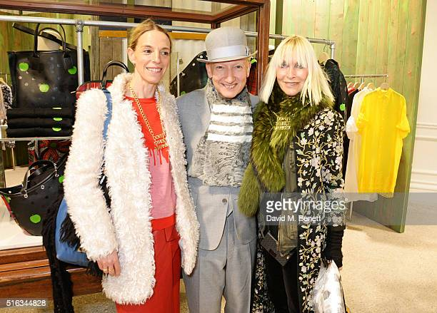 Tiphaine de Lussy, Stephen Jones and Virginia Bates attend an exclusive VIP preview of the Dover Street Market on March 18, 2016 in London, England.