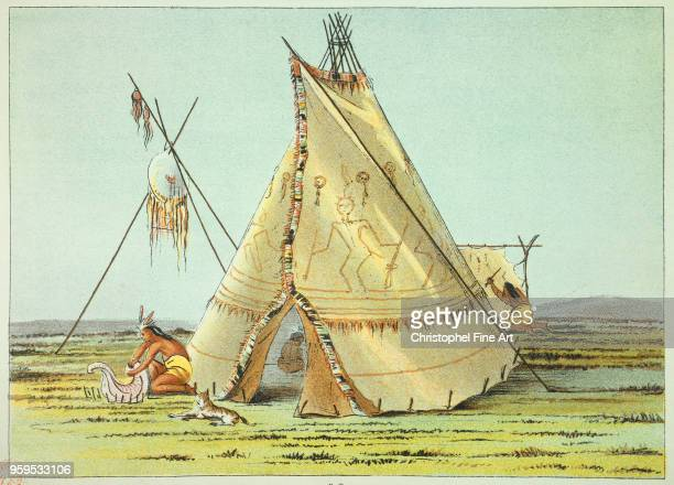 Tipi of the Crows tribe garnished with porcepics quills Catlin George Bibliotheque Nationale de France in Paris USA