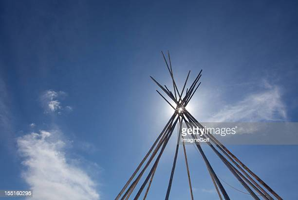 tipi or teepee on the great plains - first nations stock pictures, royalty-free photos & images