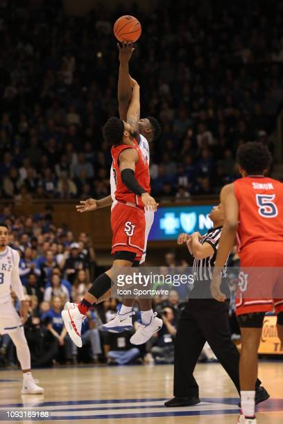 Tipoff between St John's Red Storm and Duke Blue Devils during the 1st half of the Duke Blue Devils game versus the St John's Red Storm on February...