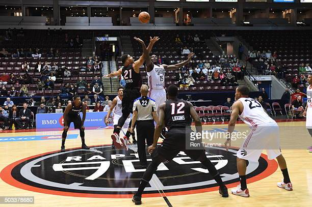 A tipoff between the Raptors 905 and the Sioux Falls Skyforce during the game on December 31 2015 at the Hershey Centre in Mississauga Ontario Canada...