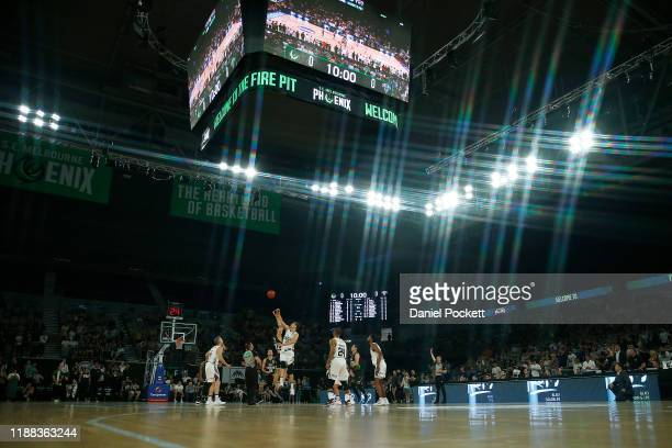 Tipoff during the round seven NBL game between the South East Melbourne Phoenix and the Adelaide 36ers at Melbourne Arena on November 18 2019 in...