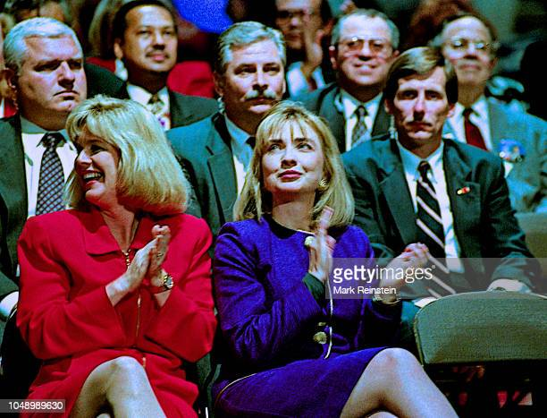 Tipper Gore and Hillary Clinton watch their husbands Tennessee Senator Albert Gore Jr and Arkansas Governor William Clinton the Democratic...