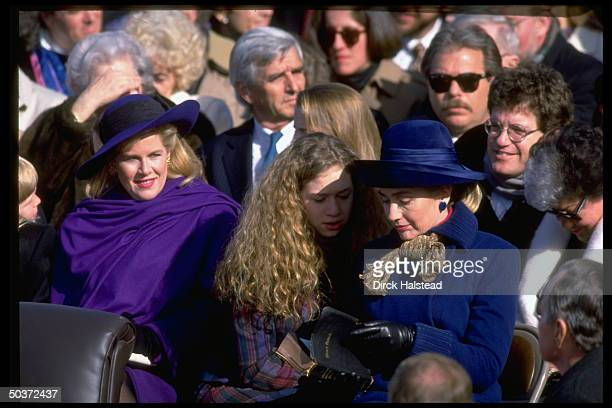 Tipper Gore Chelsea Clinton and Hillary Rodham Clinton attending the Clinton/Gore inauguration