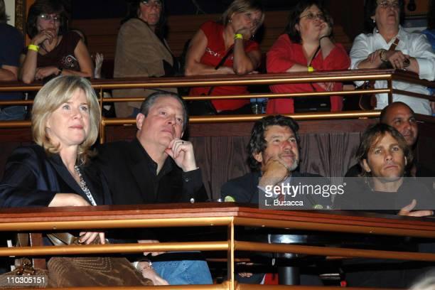 Tipper Gore, former Vice President Al Gore, Rolling Stone's Jann Wenner and fashion designer Matt Nye attend Melissa Etheridge's performance for her...
