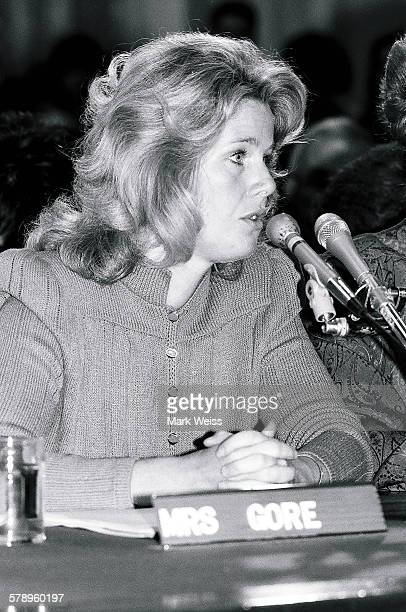 Tipper Gore of the PMRC appears at a senate hearing at Capitol Hill Washington DC United States 19th September 1985 Representatives of the Parents...
