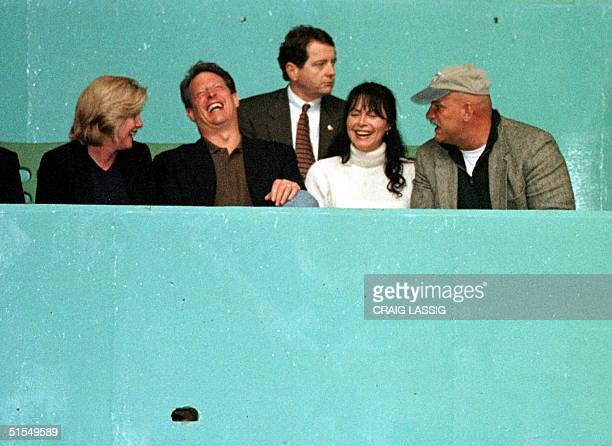 Tipper Gore US Vice President Al Gore Minnesota First Lady Terry Janos and Minnesota Governor Jesse Ventura joke as they wait for Janos' and...