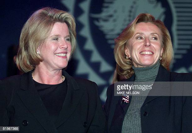 Tipper Gore wife of Democratic presidential candidate US Vice President Al Gore and Haddassah Lieberman wife of Gore's running mate Senator Joe...