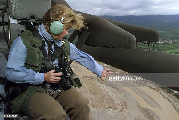 Tipper Gore wife of US Vice President Al Gore looks over the receding Choluteca River near the Honduran capital of Tegucigalpa as she inspects the...