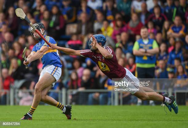 Tipperary Ireland 1 July 2017 Aidan McCormack of Tipperary is blocked down by Gary Greville of Westmeath during the GAA Hurling AllIreland Senior...