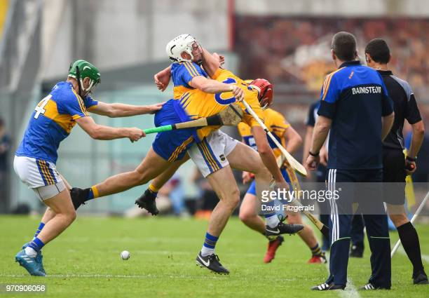 Tipperary Ireland 10 June 2018 Peter Duggan of Clare in action against Brendan Maher of Tipperary during the Munster GAA Hurling Senior Championship...