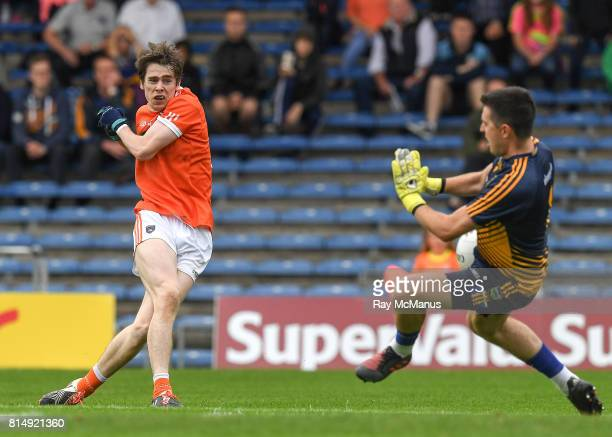 Tipperary Ireland 15 July 2017 Andrew Murnin of Armagh has his shot on goal saved by the Tipperary goalkeeper Ciarán Kenrick during the GAA Football...