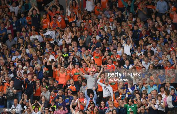 Tipperary Ireland 15 July 2017 Armagh supporters amongst the 6823 attendance celebrate a late score for their side during the GAA Football AllIreland...