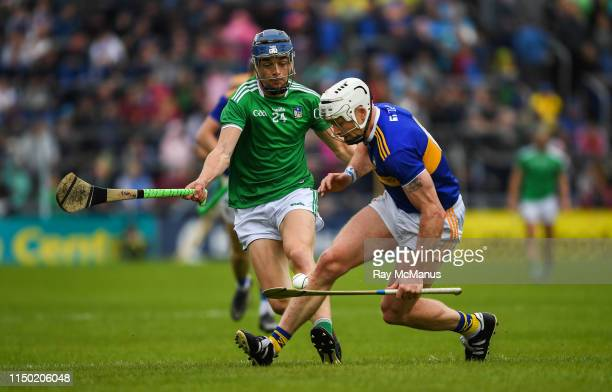 Tipperary Ireland 16 June 2019 Padraic Maher of Tipperary in action against David Reidy of Limerick during the Munster GAA Hurling Senior...