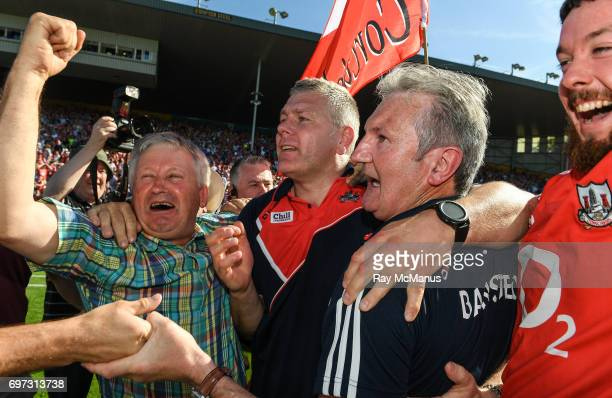 Tipperary Ireland 18 June 2017 Cork supporters congratulate Cork manager Kieran Kingston second from right and selector Diarmuid O'Sullivan after the...