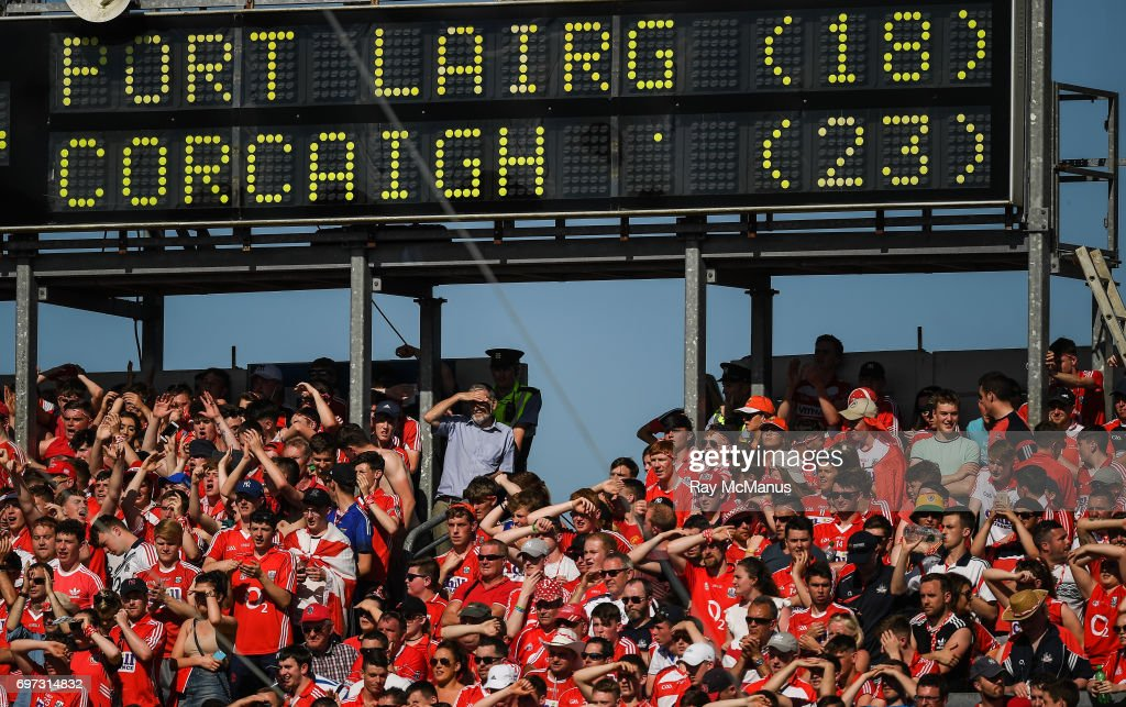 Tipperary , Ireland - 18 June 2017; Cork supporters watch the last minute of the Munster GAA Hurling Senior Championship Semi-Final match between Waterford and Cork at Semple Stadium in Thurles, Co Tipperary.