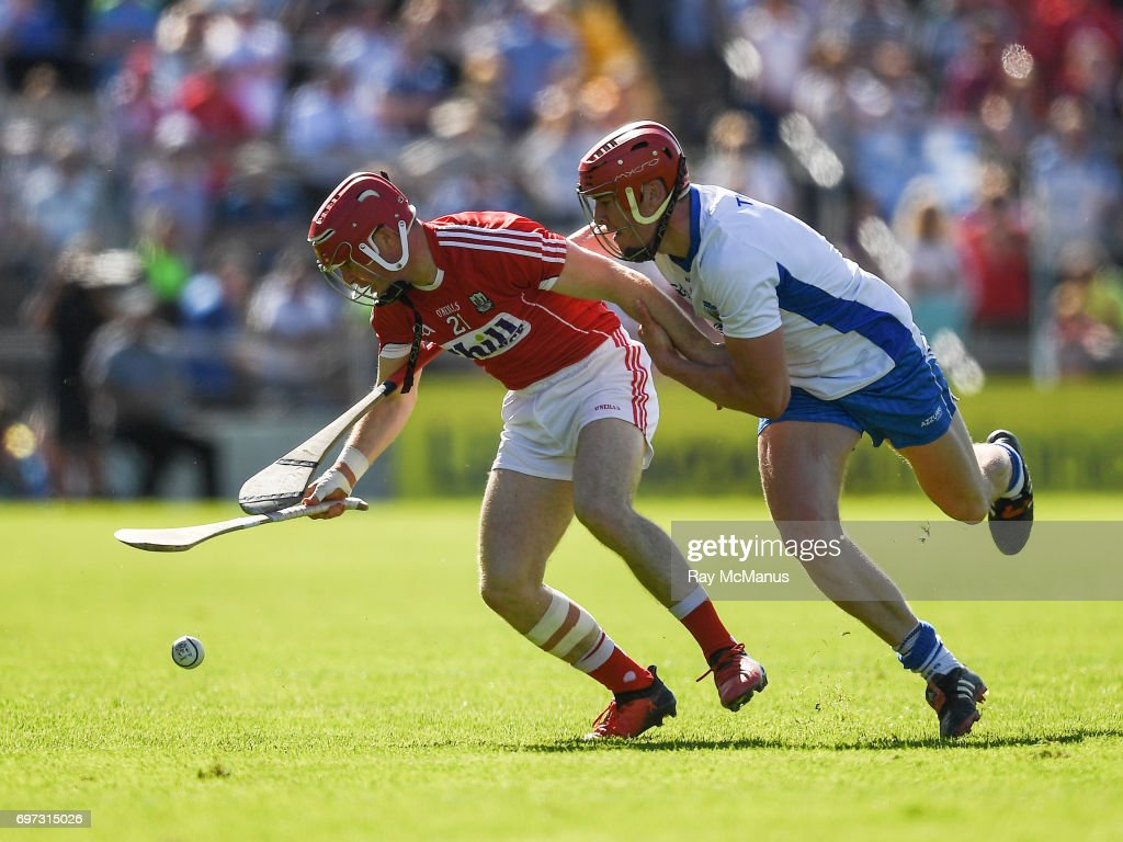 Tipperary , Ireland - 18 June 2017; Daniel Kearney of Cork in action against Tadhg de Búrca of Waterford during the Munster GAA Hurling Senior Championship Semi-Final match between Waterford and Cork at Semple Stadium in Thurles, Co Tipperary.