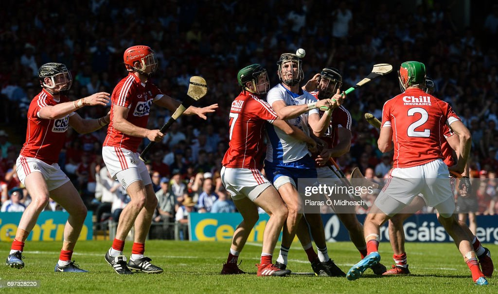 Tipperary , Ireland - 18 June 2017; Maurice Shanahan of Waterford is tackled by Mark Coleman, left, and Mark Ellis of Cork during the Munster GAA Hurling Senior Championship Semi-Final match between Waterford and Cork at Semple Stadium in Thurles, Co Tipperary.