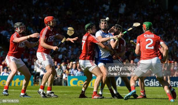 Tipperary Ireland 18 June 2017 Maurice Shanahan of Waterford is tackled by Mark Coleman left and Mark Ellis of Cork during the Munster GAA Hurling...