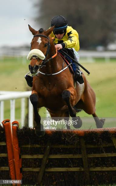 Tipperary , Ireland - 20 March 2021; Sheshoon Sonny, with Simon Torrens up, jumps the last on their way to winning the Adare Manor Opportunity Maiden...