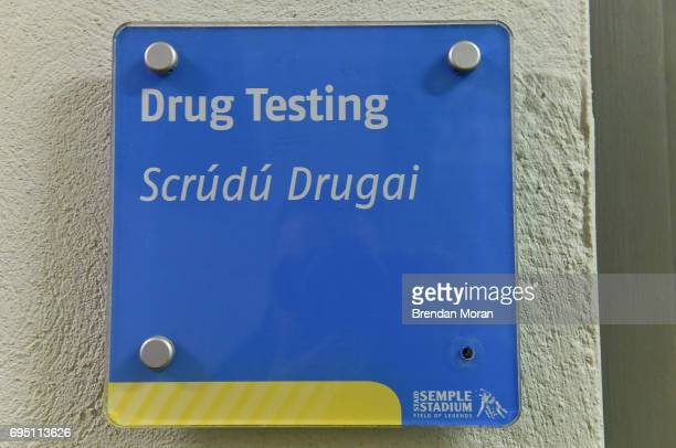Tipperary Ireland 21 May 2017 Sign for a drug testing room ahead of the Munster GAA Hurling Senior Championship SemiFinal match between Tipperary and...