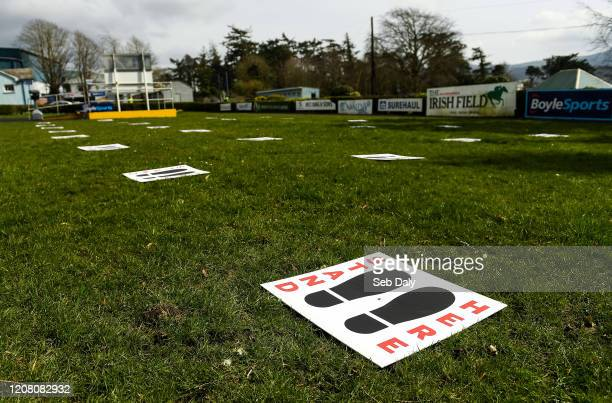 Tipperary Ireland 24 March 2020 A view of a social distancing footpads for jockeys and trainers in the parade ring prior to racing at Clonmel...