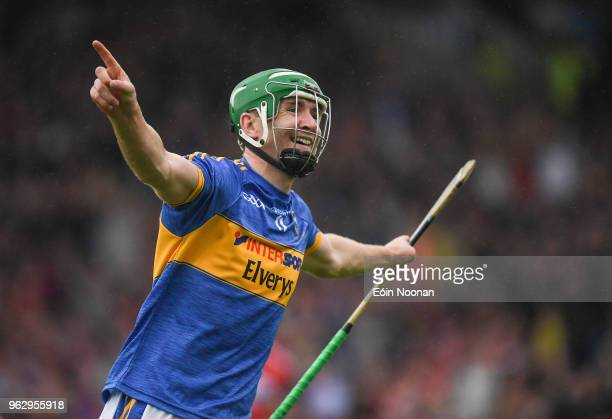 Tipperary Ireland 27 May 2018 Noel McGrath of Tipperary celebrates after scoring his side's second goal during the Munster GAA Hurling Senior...