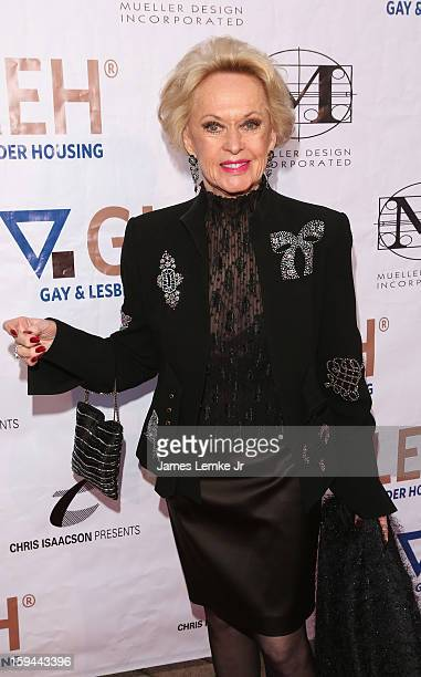 Tippi Hedren attends the GLEH Golden Globes Viewing Gala Honoring Julie Newmar held at the Jim Henson Studios on January 13 2013 in Hollywood...