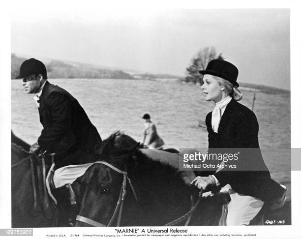 Tippi Hedren sets off on a fox hunt in a scene from the film 'Marnie' 1964