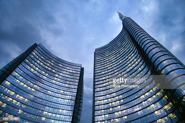 Tips of the Unicredit towers in the Porta Nuova district of Milan, Italy