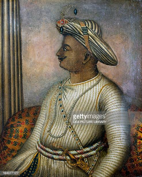 Tipu Sultan , also known as the Tiger of Mysore, Sultan of Mysore from 1782 to 1799, painting. India, 18th century. London, British Library, India...